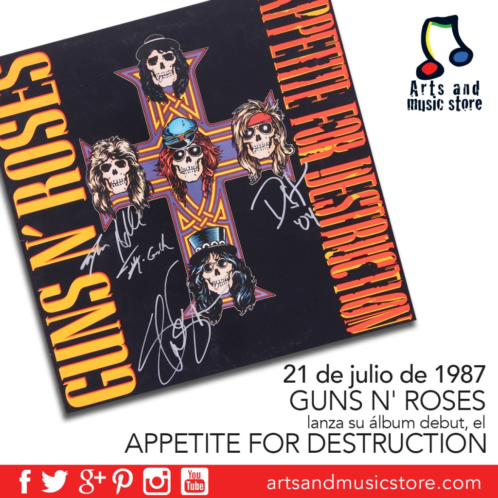 21 de julio de 1987 Guns N' Roses lanza el Appetite for Destruction
