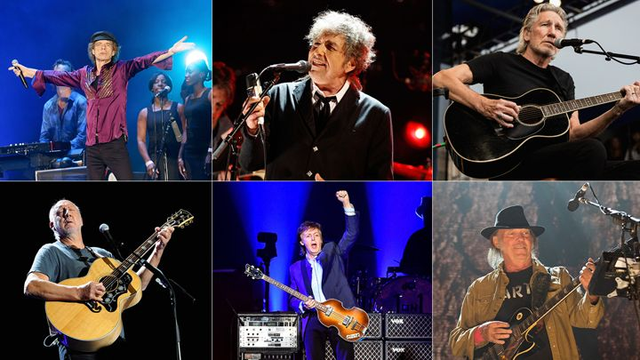 The Rolling Stones, Paul McCartney, Neil Young, Roger Waters, Bob Dylan, The Who