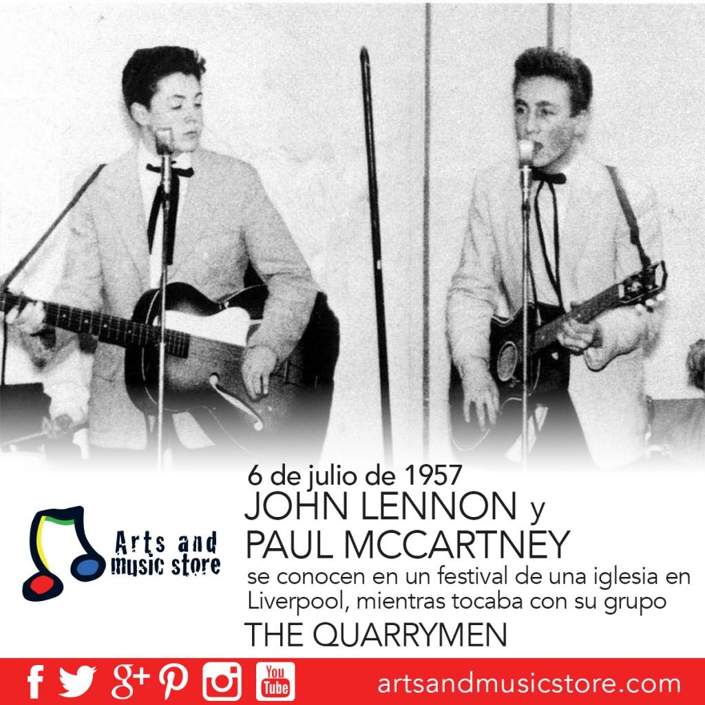 6 de julio de 1957, John Lennon y Paul Mccartney se conocen en un festival de una iglesia en Liverpool, mientras tocaba con su grupo The Quarrymen